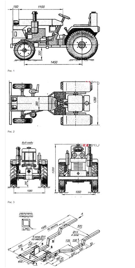 Мототрактор ДВ 120 - схема