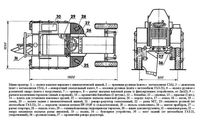 Минитрактор из УАЗа - задний мост