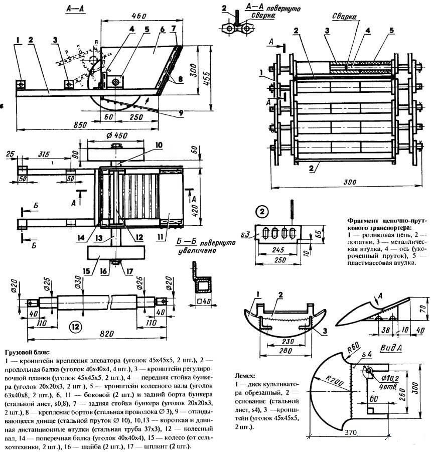 Транспортерные картофелекопалки - чертеж