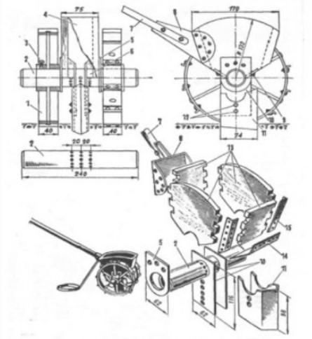 Сеялка на минитрактор - чертеж