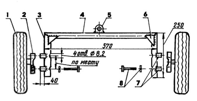 Чертеж переднего моста самодельного минитрактора 87