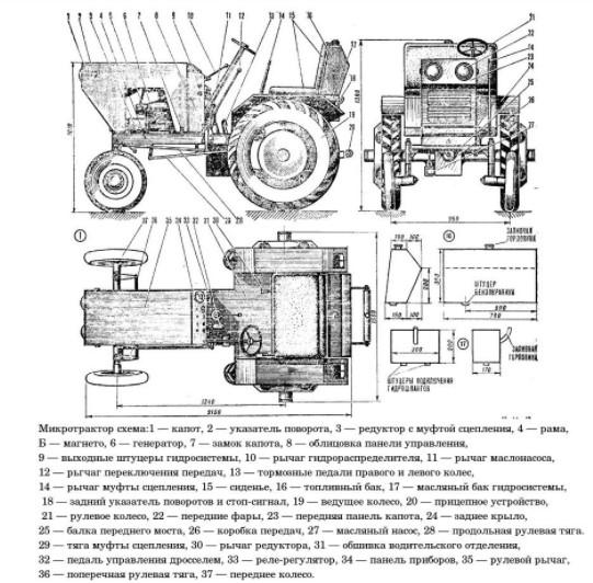 Мини трактор из Жигулей - чертеж