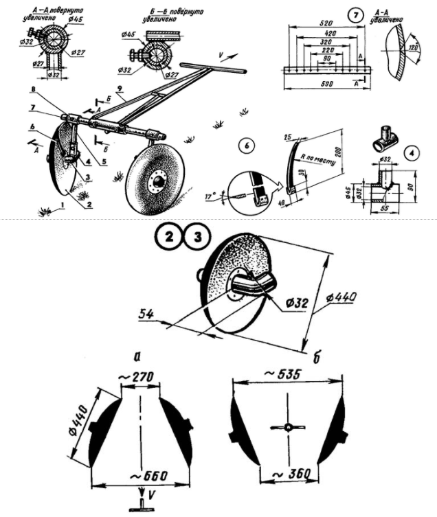 Чертеж окучника для мотоблока