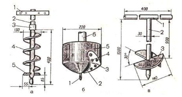 Чертеж мотоледобура из триммера