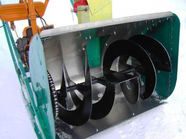Сборка корпуса рабочего шнека и приводного механизма снегоуборщика