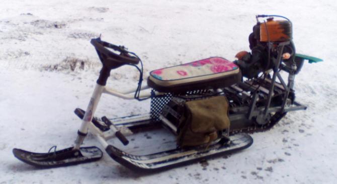 Снегоход из бензопилы Дружба