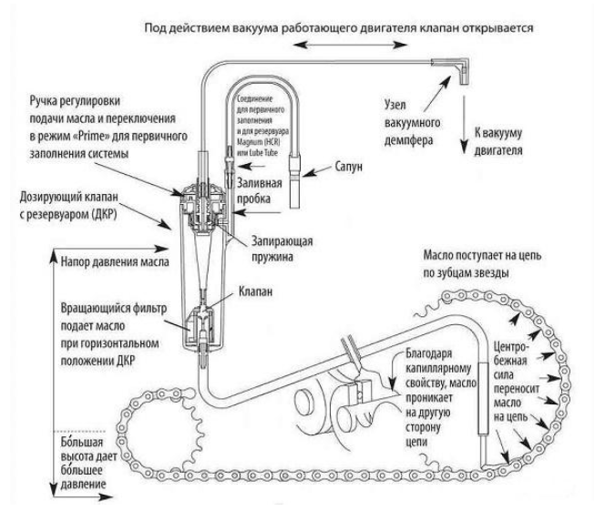 Конструктивные особенности и принцип действия системы смазки электропилы