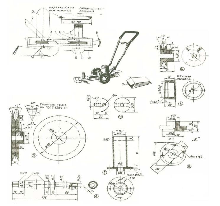 Как сделать косилку из бензопилы своими рукам, чертеж